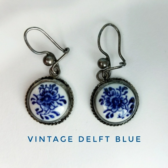 Blue and White Vintage Earrings